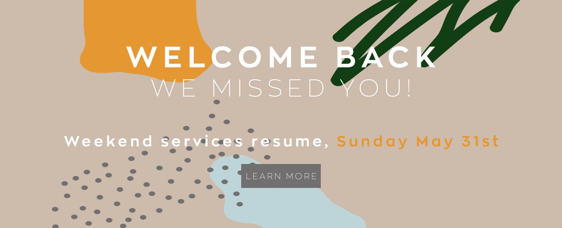 Welcome Back Homepage